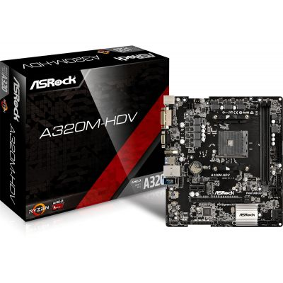 TARJETA MADRE ASROCK A320-HDV DDR4 AM4 DVI-D, D-SUB, HDMI, USB 3.1