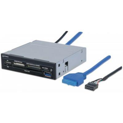 "LECTOR DE TARJETAS MANHATTAN BAHIA INTERNA 3.5"" USB 3.0, 34 EN 1 10197"