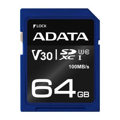 MEMORIA SD ADATA SDXC UHS-I U3 64 GB 100 MB/S 60 MB/S AZUL CLASE 10