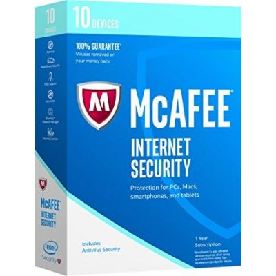 ANTIVIRUS MCAFEE INTERNET SECURITY 10 DISPOSITIVOS 1 AÑO