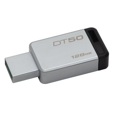 MEMORIA FLASH KINGSTON 128 GB USB 3.1 PLATA / NEGRO (DT50/128GB)