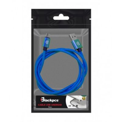 CABLE MICRO USB BLACKPCS TEJIDO AZUL 1MT 1A (CABMT-1)