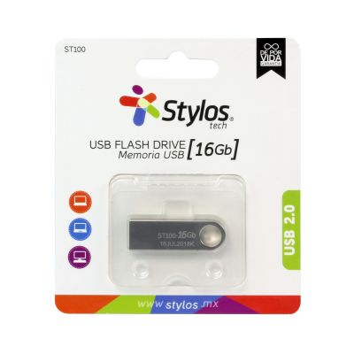 MEMORIA USB STYLOS 16GB FLASH 2.0 PLATA (STMUSB2B)