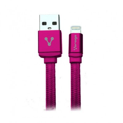 CABLE VORAGO CAB-119 ROSA USB-APPLE LIGHTNING 1 METRO ROSA BOLSA