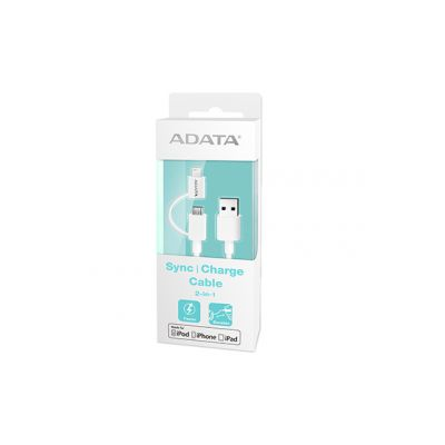 CABLE ADATA LIGHTNING 2 EN1 P/ APPLE Y ANDROID (AMFI2IN1-100CM-CWH)