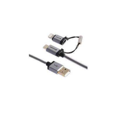 CABLE VERBATIM 2 EN 1 MICRO USB & LIGHTNING TENSADO NEGRO 99217