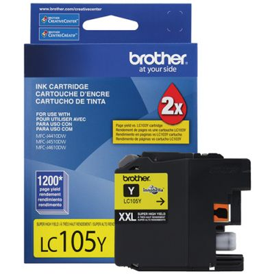 CARTUCHO DE TINTA BROTHER LC105Y AMARILLO XL 1200 PAG P/6720DW/6920DW