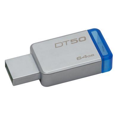 MEMORIA FLASH KINGSTON 64 GB USB 3.1 PLATA / AZUL (DT50/64GB)