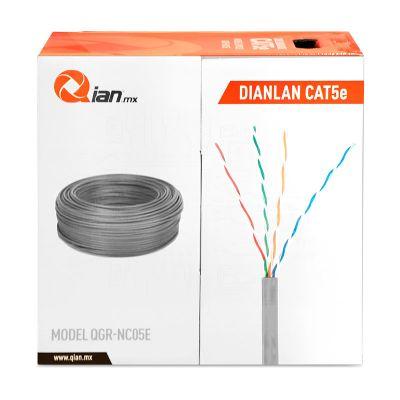 BOBINA CABLE UTP CAT5E QIAN QGR-NC05E GRIS 305 MTS