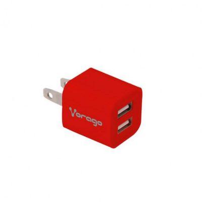 CARGADOR DE PARED VORAGO AU-106 ROJO CON 2 PUERTOS USB BLISTER
