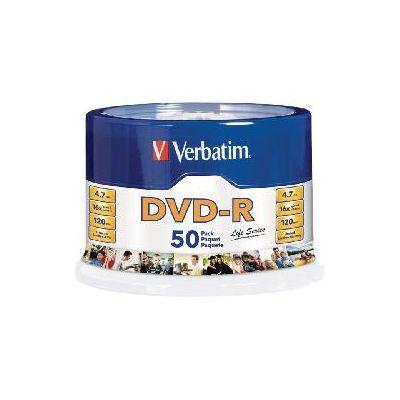 PAQUETE 50 DISCOS VERBATIM LIFE SERIES DVDR 4.7GB 16X 120MIN SPINDLE