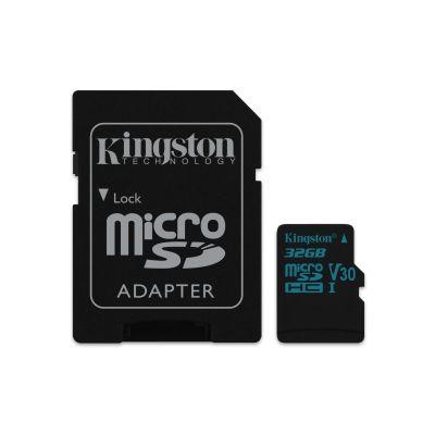 MICRO SD KINGSTON CANVAS GO 32GB CL10 UHS-I U3 90MB/S C/ADAPTADOR