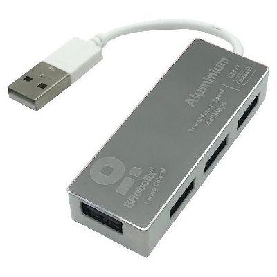 HUB USB BROBOTIX 180727-3 USB 2.0 PLATA 4 PUERTOS