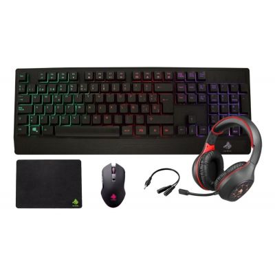KIT EAGLE WARRIOR RHINO TECLADO MOUSE TAPETE DIADEMA NEGRO ROJO