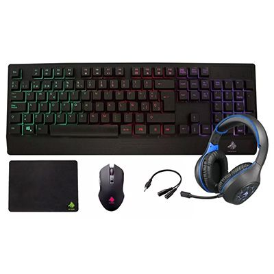 KIT EAGLE WARRIOR RHINO TECLADO MOUSE TAPETE DIADEMA NEGRO AZUL